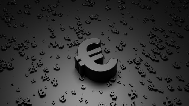 3d визуализация символа евро на черной поверхности Premium Фотографии