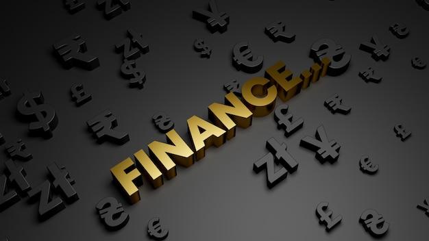 3d визуализация золотого текста финансов с символами валюты Premium Фотографии