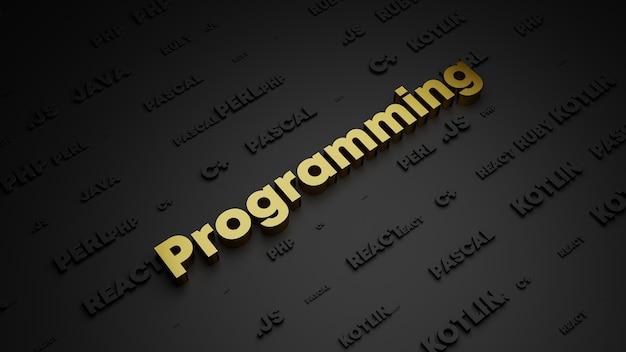 3d визуализация золотого металла надписи программирования слова Premium Фотографии