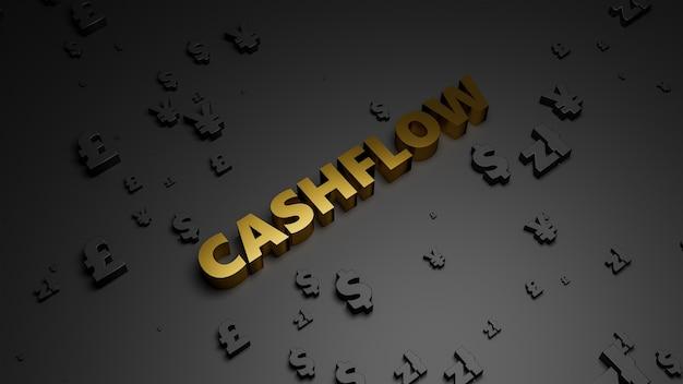 3d визуализация золотого металлического текста cashflow на фоне темной валюты. Premium Фотографии