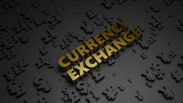 3d визуализация золотой металлический текст обмена валюты на темном фоне валюты. Premium Фотографии
