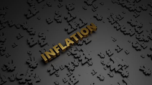 3d визуализация золотого металлического текста инфляции на фоне темной валюты. Premium Фотографии