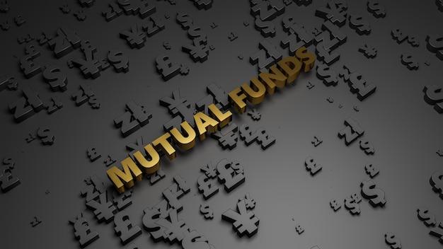 3d визуализация золотого металлического текста паевого инвестиционного фонда на фоне темной валюты. Premium Фотографии