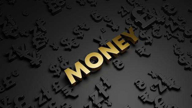 3d визуализация текста золотые деньги с символами валюты Premium Фотографии