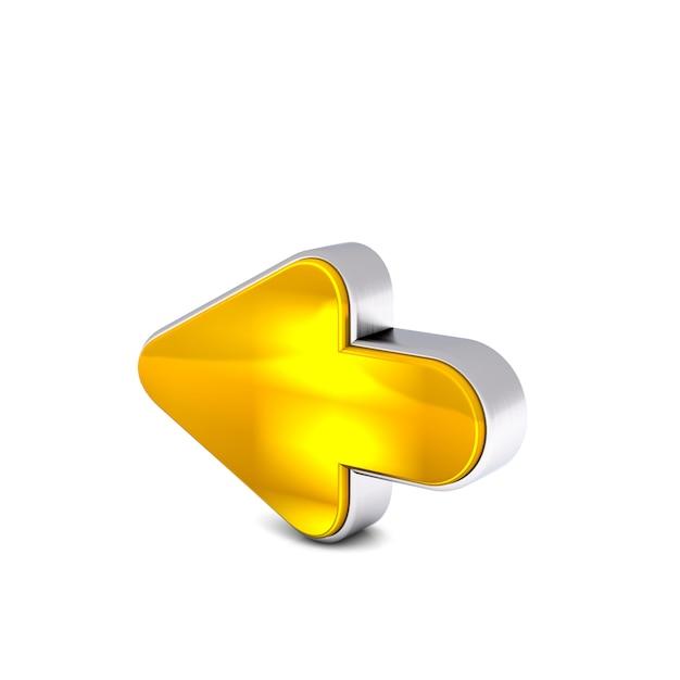 白い背景に分離された黄金黄色の後方矢印の3 dレンダリング Premium写真