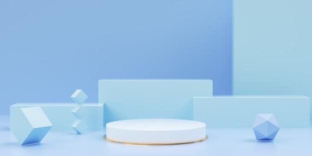 제품 배치를위한 홀로그램 기하학적 단계의 3d 렌더링 프리미엄 사진