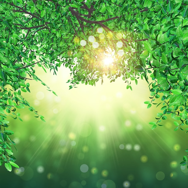 Nature Images With Quotes Download: 3d Render Of Leaves On Bokeh Lights Background Photo