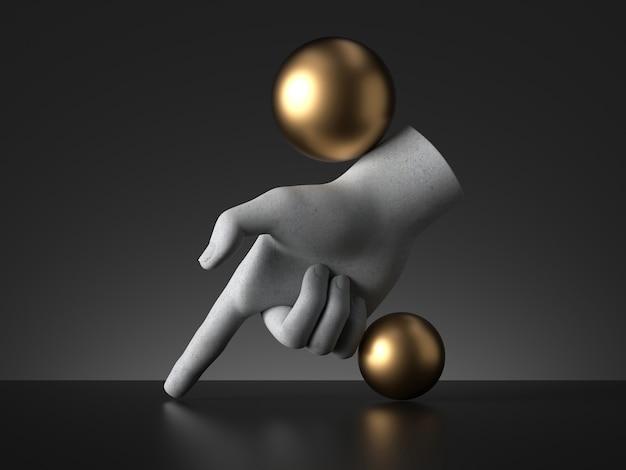 マネキンの手と金色のボールの3dレンダリング、指を下に向けます。 Premium写真