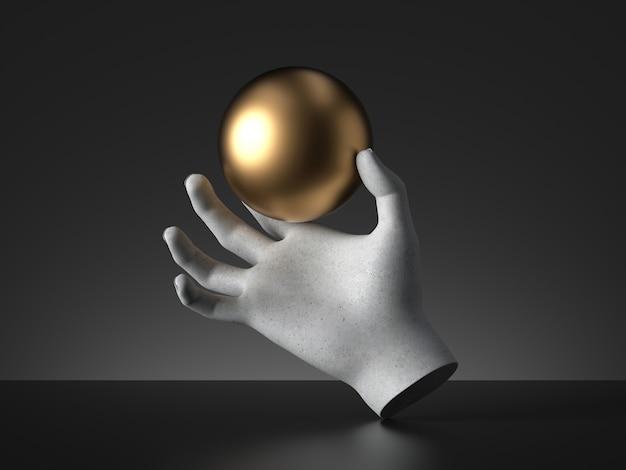 金色のボールを持っているマネキンの手の3dレンダリング。 Premium写真