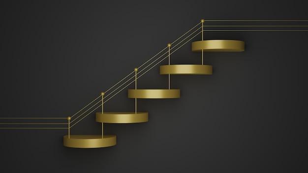 3d визуализация макета подиума в форме золотых геометрических ступеней на черном фоне для дизайна продукта Premium Фотографии