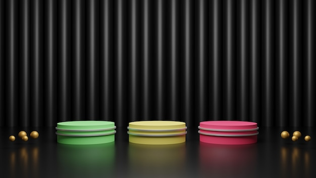 3d визуализация разноцветных подиумов на блестящем темно-черном фоне с золотыми шарами Premium Фотографии
