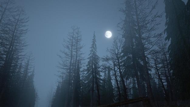 하늘에 달과 안개 속에서 밤에 신비로운 숲의 3d 렌더링 프리미엄 사진