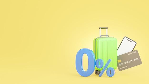 3d визуализация предложения по продвижению 0% с помощью кредитной карты Premium Фотографии