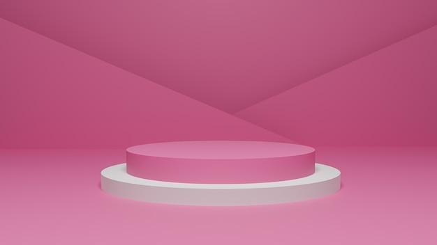 3d-рендеринг пастельно-розово-белой платформы Premium Фотографии