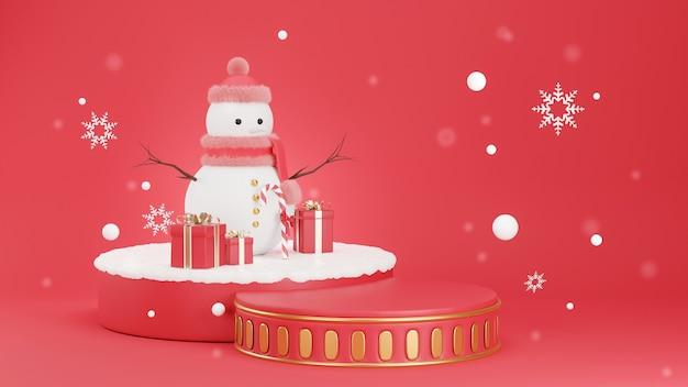 3d визуализация цилиндра подиума, украшенного снежным человеком Premium Фотографии