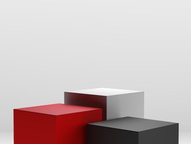 赤、黒、白の3dレンダリング、幾何学的形状の表彰台ディスプレイまたはショーケース用の最小限のスタイルのさまざまなレベルのデザイン。 Premium写真