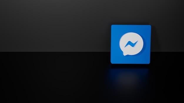 3d визуализация блестящего логотипа facebook messenger на черном темном фоне Premium Фотографии