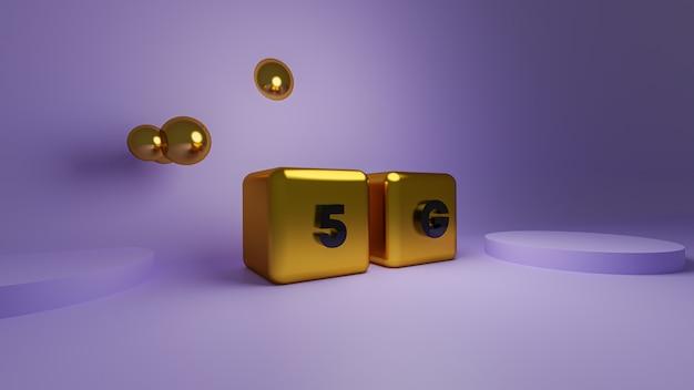 3d-рендеринг блестящего золотого блока 5g cube gold cube Premium Фотографии
