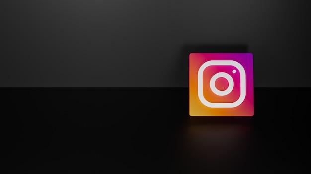 3d визуализация блестящего логотипа instagram на черном темном фоне Premium Фотографии
