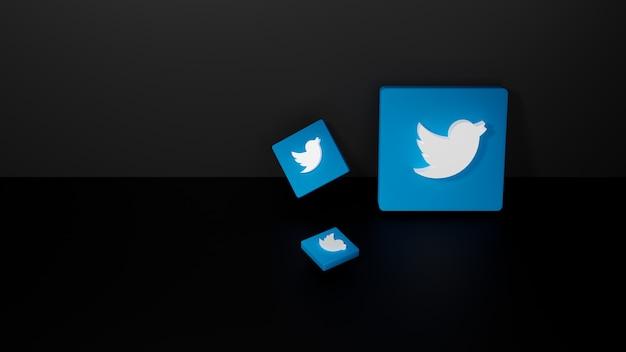 3d визуализация блестящего логотипа twitter на черном темном фоне Premium Фотографии