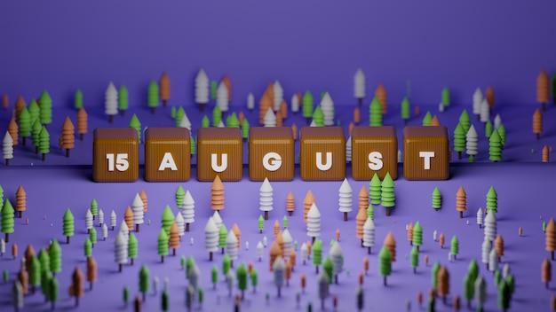 3d визуализация текстового блока на день независимости индии Premium Фотографии