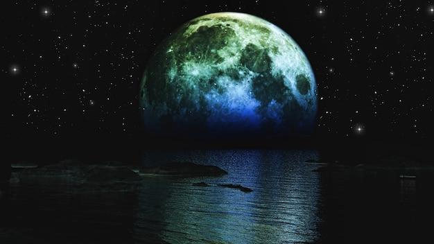 3d визуализации луны установка над морем Бесплатные Фотографии