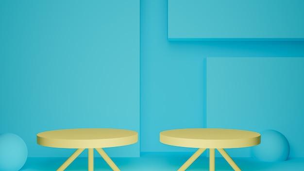 3d визуализация двух желтых подиумов в голубой комнате Premium Фотографии