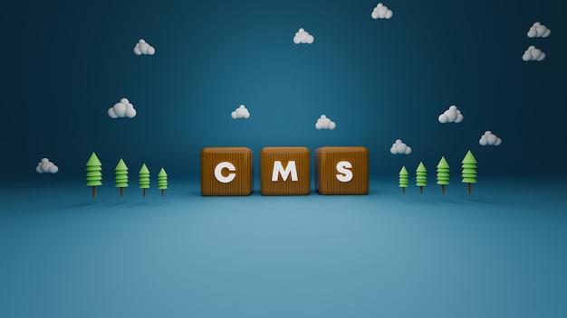 3d визуализация деревянного текста блока cms на синем Premium Фотографии