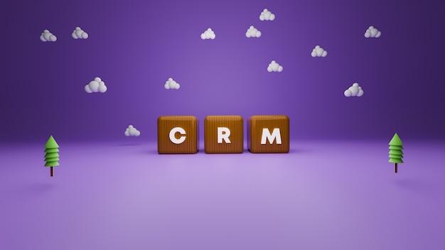 3d-рендеринг текста блока crm в деревянном стиле на фиолетовом Premium Фотографии