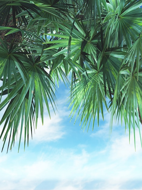 3d render of palm tree leaves against a blue sky Photo | Free Download