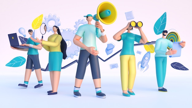 3d render of people working from different business elements. Premium Photo