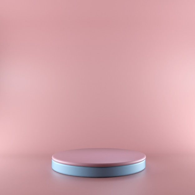 3d render pink and blue podium. shop showcase product display, empty space, vacant pedestal, square stage. blank mockup with copy space Premium Photo