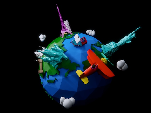 3d render of the planet with architectural landmarks of the world Premium Photo