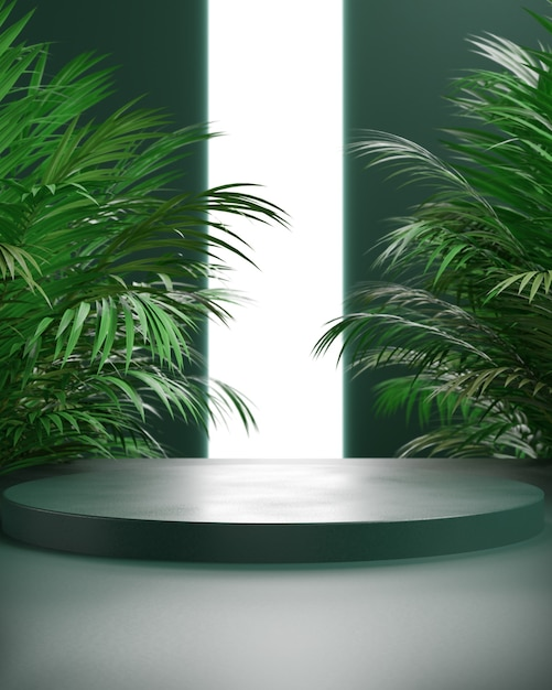 3d render podium with leaf palm and green background, abstract background, white neon light, displa
