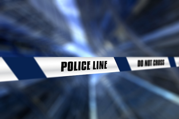 3d render of a police line tape against defocussed background Free Photo