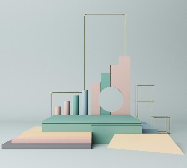 3d render primitive shapes abstract geometric background minimal Premium Photo
