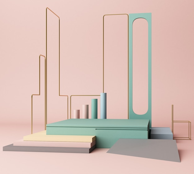 3d render primitive shapes abstract geometric background minimal Premium Photo
