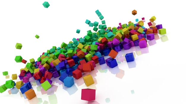 3d render of rainbow coloured cubes Free Photo