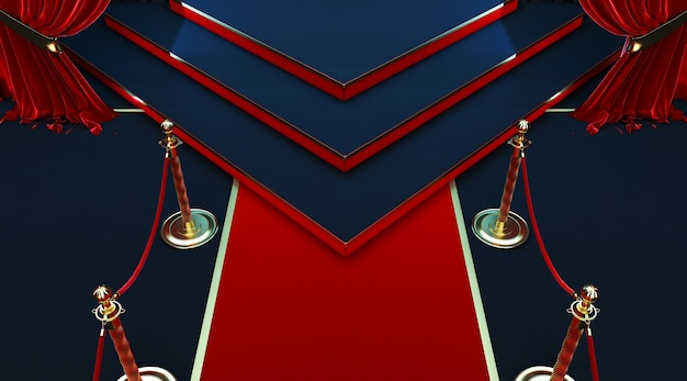 3d render of realistic red carpet and pedestal with barriers fences and velvet rope Premium Photo