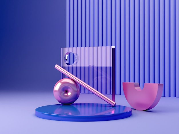 3d render scene with geometrical forms. blue plastic podium with primitive pink metallic shapes in a textured abstract blue background. Premium Photo