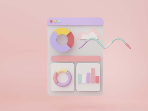 3d render seo data an analytics user interface business graph chart for future planning