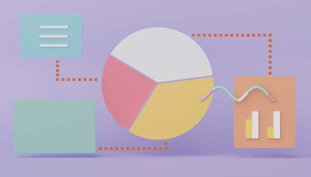 3d render seo pie graph data an analytics user interface business graph chart for future planning