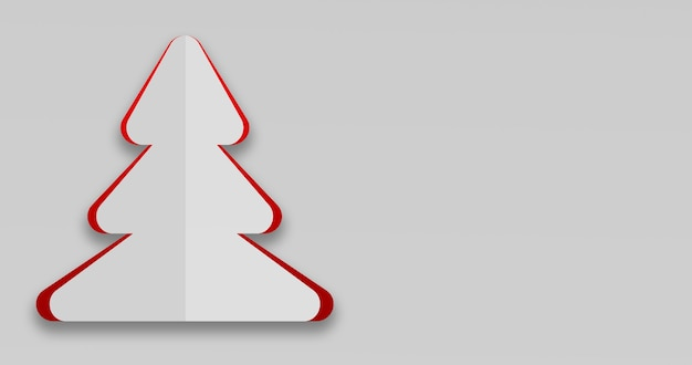 3d render of a simple christmas card in christmas tree shape Free Photo