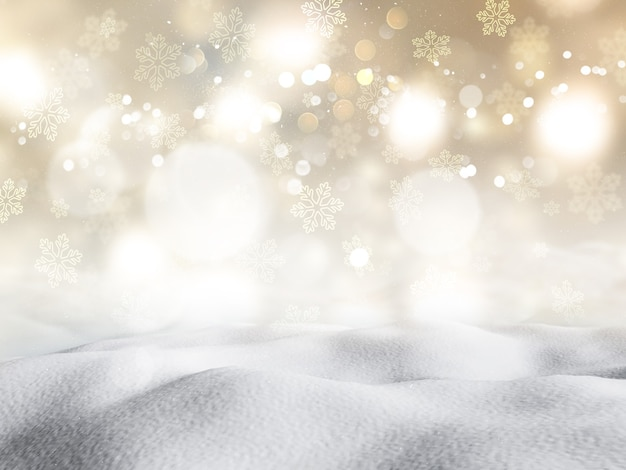 3d render of snow against a bokeh lights background Free Photo