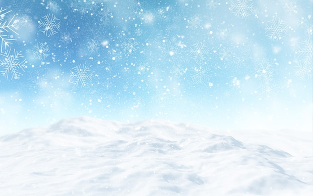 3d render of a snowy christmas landscape Free Photo