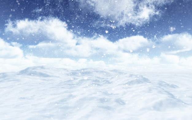 3d render of a snowy landscape with falling snowflakes Free Photo