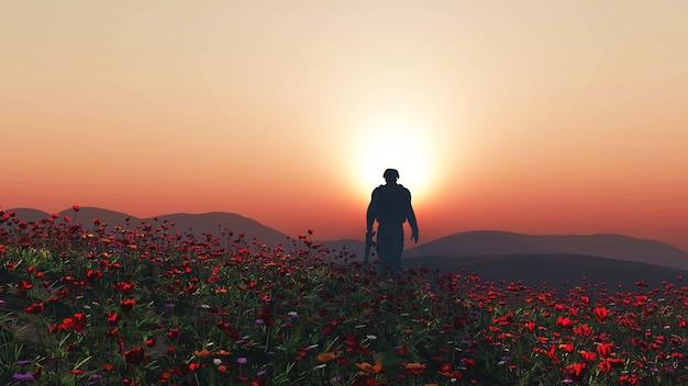 3d rendering di un soldato che cammina in un campo di papavero Foto Gratuite