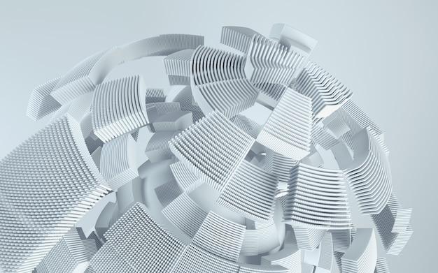 3dレンダリング技術の背景。動きの抽象的な形。 Premium写真