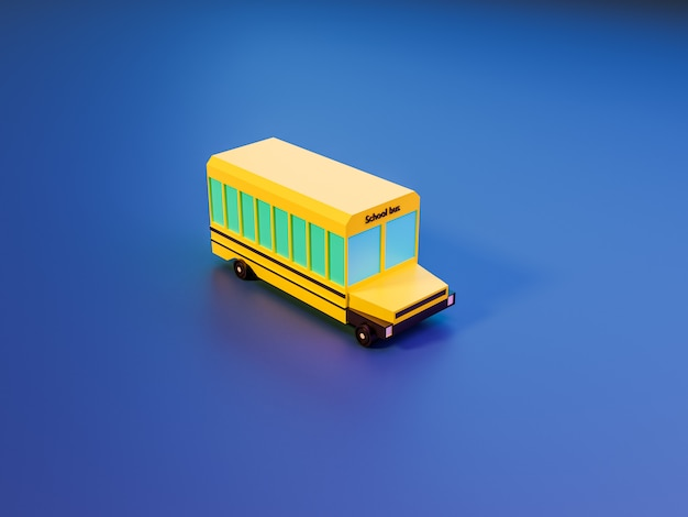 3d render of trees and school bus on blue background in neon colors. back to school concept Premium Photo