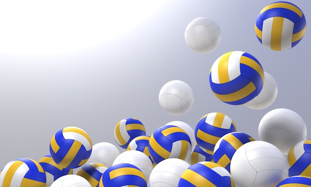 3d render volleyball object with clipping part Premium Photo